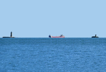 Art Ready to Hang – Photo – FREIGHTERS Lake St. Clair South Channel Lights – 6008